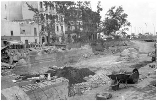 Obras de enterramiento del barranco Guiniguada en 1971. Archivo fotográfico Jaime O'Shanahan (Biblioteca de la ULPGC)